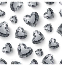 Shiny diamond hearts on white background seamless vector