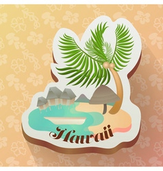 Hawaii ocean in summer icon with seamless hawaii vector