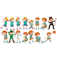 Boys doing different actions vector image