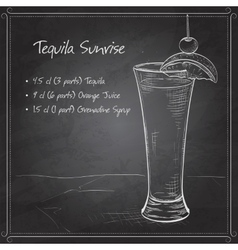 Tequila sunrise realistic cocktail on black board vector