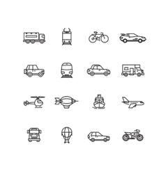 Transport line icons set vector