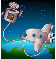 A robot and an aircraft at the outerspace vector image