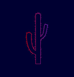 Cactus simple sign line icon with vector