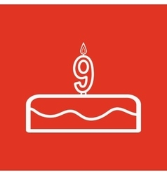 Cake with candles in the form of number 9 icon vector image