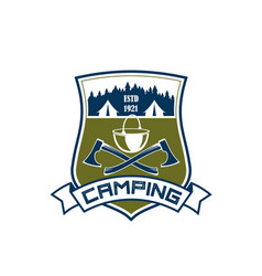 camping adventure camp tent icon vector image vector image
