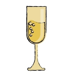 Cartoon cup glass champagne love celebration vector