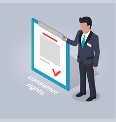 Consumer rights and businessman vector