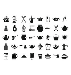 crockery icon set simple style vector image vector image