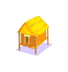 Elevated wooden house jungle village landscape vector