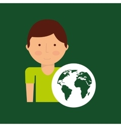 environment icon boy with green globe vector image