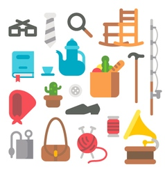 Flat design grandparents items vector
