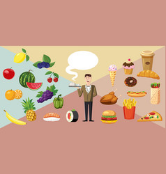 Food horizontal banner waiter cartoon style vector