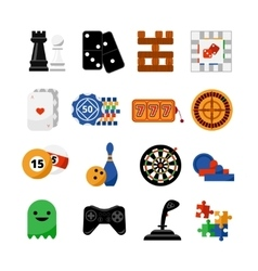 Gambling casino games flat icons set vector image