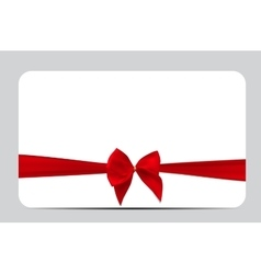 Gift Card Template with Red Silk Ribbon and Bow vector image vector image