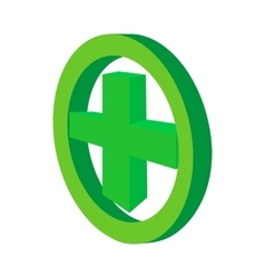 Green cross in the circle icon cartoon style vector image vector image