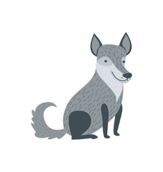 Grey Wolf Sitting Like A Dog Smiling vector image vector image
