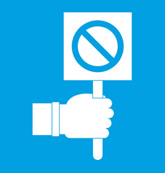 Hand showing stop signboard icon white vector