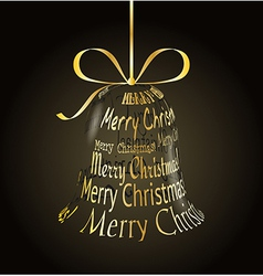 Hanging christmas bell made of Merry christmas vector image vector image