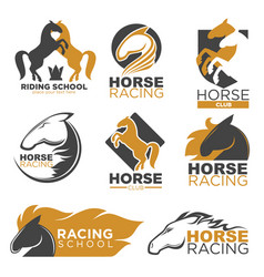 horse racing colorful logo label set isolated on vector image vector image