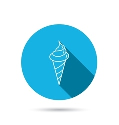Ice cream icon Sweet dessert in waffle cone vector image