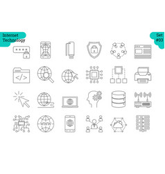 Linear icon set 3 - internet of things vector