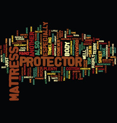 Mattress protector text background word cloud vector