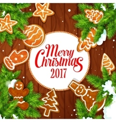 Merry christmas 2017 gingerbread biscuits poster vector