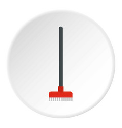 Red broom icon circle vector