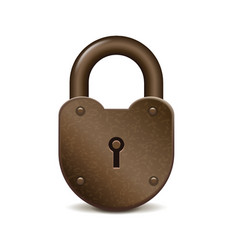 Retro lock isolated on white vector image vector image