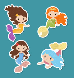 set of cute girl mermaids stickers set of cute vector image