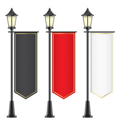 Set of royal flags hanging on lamposts vector