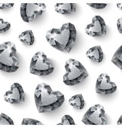 Shiny diamond hearts on white background seamless vector image vector image