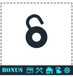 Unlock icon flat vector