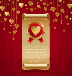 vintage scroll with hearts vector image vector image