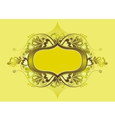 Yellow shield and lovely floral elements vector