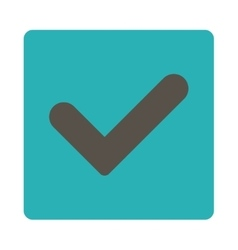 Yes flat grey and cyan colors rounded button vector