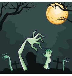 Zombies coming out of the grave at night vector