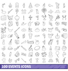 100 events icons set outline style vector