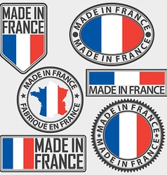 Made in france label set with flag vector