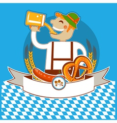oktoberfest symbol label with man and beer color vector image