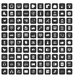 100 communication icons set black vector image