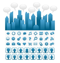 Blue Socia Media City and Icons vector image