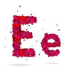 Letter e made from hearts Love alphabet vector image