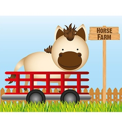 Trailer with horse farm background vector