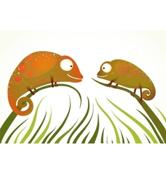 Two colorful lizards sitting on grass background vector