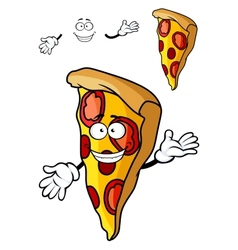 Slice of cartoon pizza vector