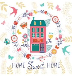 Home sweet home card with floral wreath vector