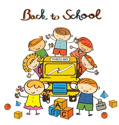 Kids and school bus back to school vector