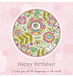Pink birthday card with big round of spring flower vector