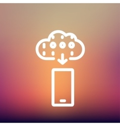 Mobile phone with weather forecast thin line icon vector